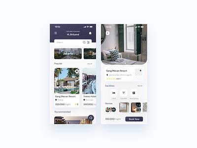 Nginep Dek - Hotels App travel app travel hotel app mobile minimalist clean clean ui gradient motel app hotel app mobile app design design app ux  ui ux design uidesign design
