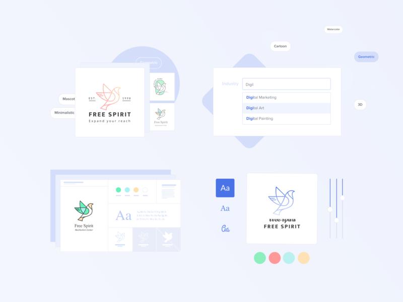 Fiver Logo Maker typography minimal color trendy components website web uiux ux ui