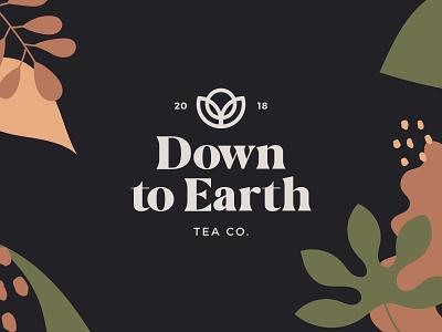 Down To Earth Tea - Dark Logo earthy mude clay earth tropical foliage leaf florals peace tea logo