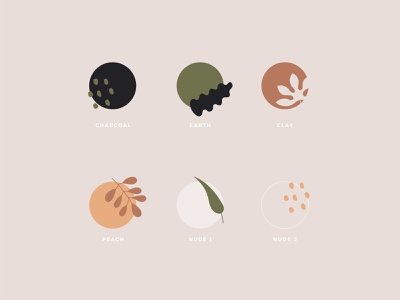 Down To Earth - Branding Elements pattern tropical leaf combo colors sheet spec color palette color foliage abstract brand tea branding