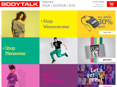 Sports apparel homepage proposition eshop vibrant grid based