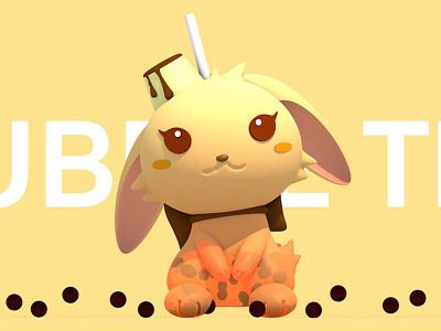 Bubble Tea Rabbit rabbit bubble tea bubbletea c4d 3d art toy drink 3d 2.5d illustration design toy design