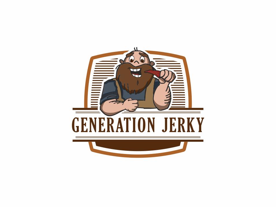 Generation Jerky logo marinade elegant cute eating beard mascot illustration character generationjerky portk turkey beef jerky friendly hipster vintage retro jerky logobranding logobrand