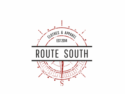 Route South logo #2 project designer graphic blue red label iso badge logo retro contest compass south route usa tshirt badge round freelance brand logo