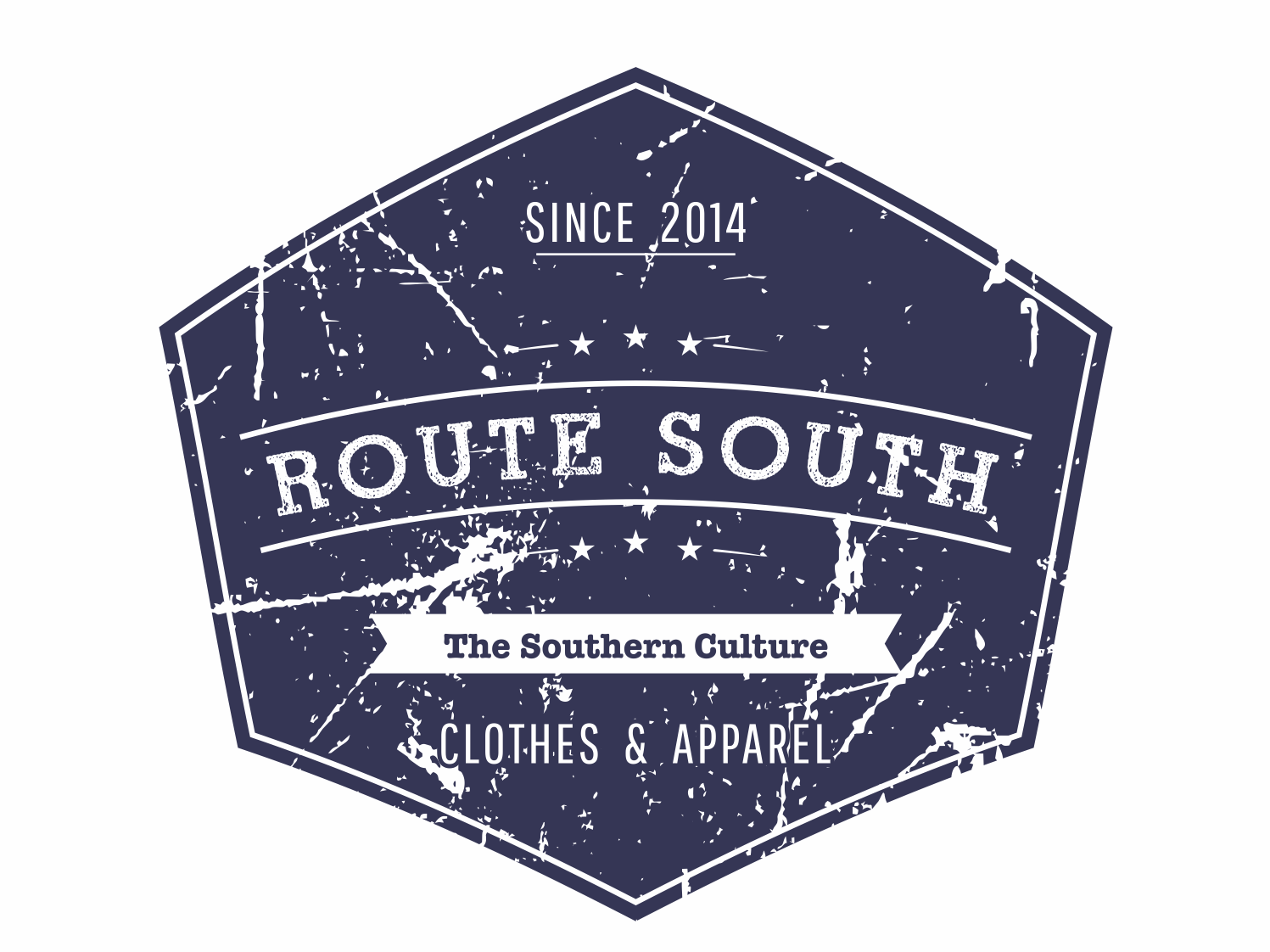 Route South logo #3 graphic  design iso retro badge round circular retro contest gray blue usa lifestyle apparel americana label tshirt south route clothing brand logo