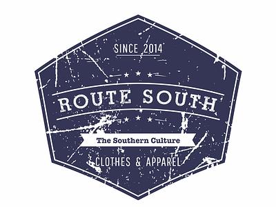 Route South logo #3 graphic  design iso retro badge round circular retro contest gray blue usa lifestyle apparel americana label tshirt south route clothing brand logo
