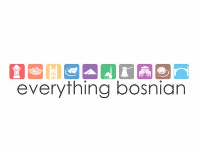 Everything Bosnian mosque bridge pyramid dzamija minaret dzezva balkan herzegovina cevapcici burek silhouette brand and identity brand modern illustration web store bosnia online logo