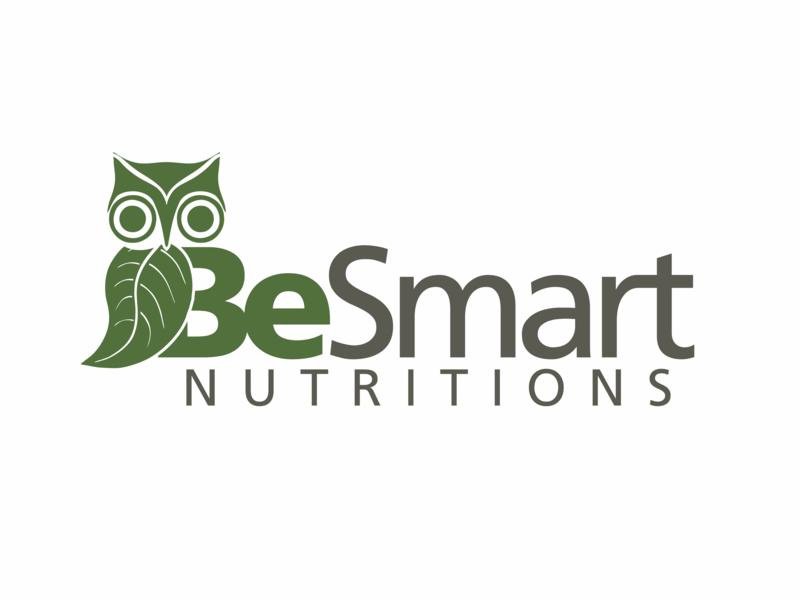 BeSmart Nutritions logo logo bar shake usa retail organic professional athlete sport food smart leaf owl braqnding gray grey green protein nutrition contest
