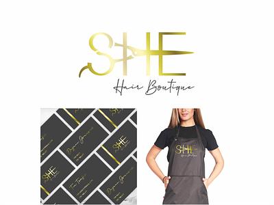Branding for Hair Boutique She fashion scissors black gold salon hair freelance croatia branding brand logo