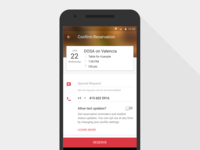 Android Booking Screen Update