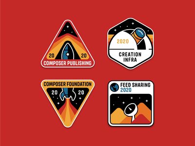 Facebook Feed & Stories Creation Patches – Full Set embroidery mission space nasa badge patches patch geometric flat illustration