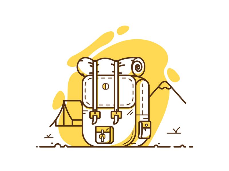 Let's go on an adventure! minimalist adventure mountain backpack illustrator vector drawing illustration