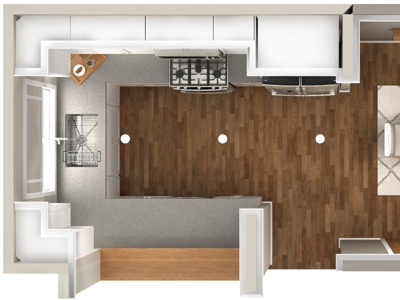 Kitchen Dining Renovation Top View By