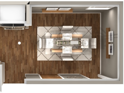 Kitchen & Dining Remodel Top View 3d renderings interior design kitchen and bath