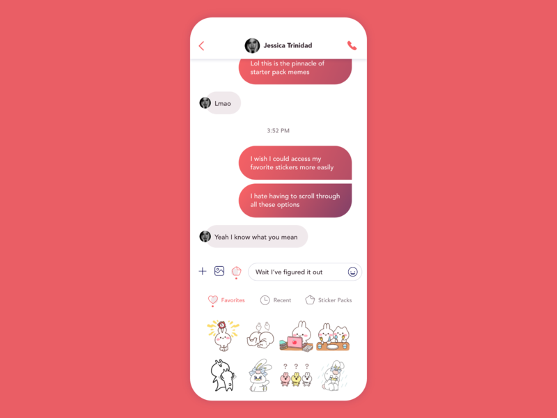 Daily UI 013 - Direct Messaging app stickers chat adobe xd design ui dailyui