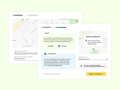 Localisation écoresponsable - Confirmation process fun practical colorful web ecology ecofriendly webtool design popup urban city map ui ux validation