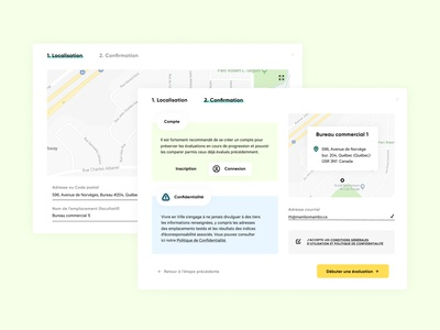 Localisation écoresponsable - Confirmation process fun practical colorful web ecology ecofriendly webtool design popup urban city map ui ux validation