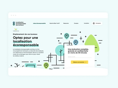 Localisation écoresponsable - Homepage ecofriendly ecology fun city urban practical colorful illustrator illustration homepage web tool web design design ui ux