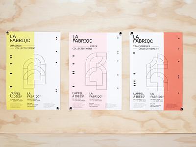 LA FABRIQC innovaton logotype branding design branding deconstruction construction print typography vector logo