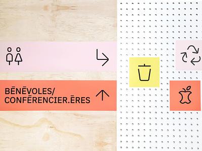 LA FABRIQC print typography event branding event signage design icons vector signage branding design