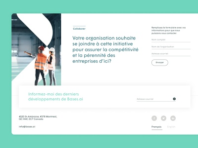Bases.ai footer email footer form design web ui industrial ai identity branding
