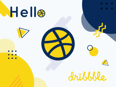 Hello Dribbble - First Shoot yellow debut first shoot first september concept art geometric typography clean color ux ui geometic popular flat vector design logo illustration
