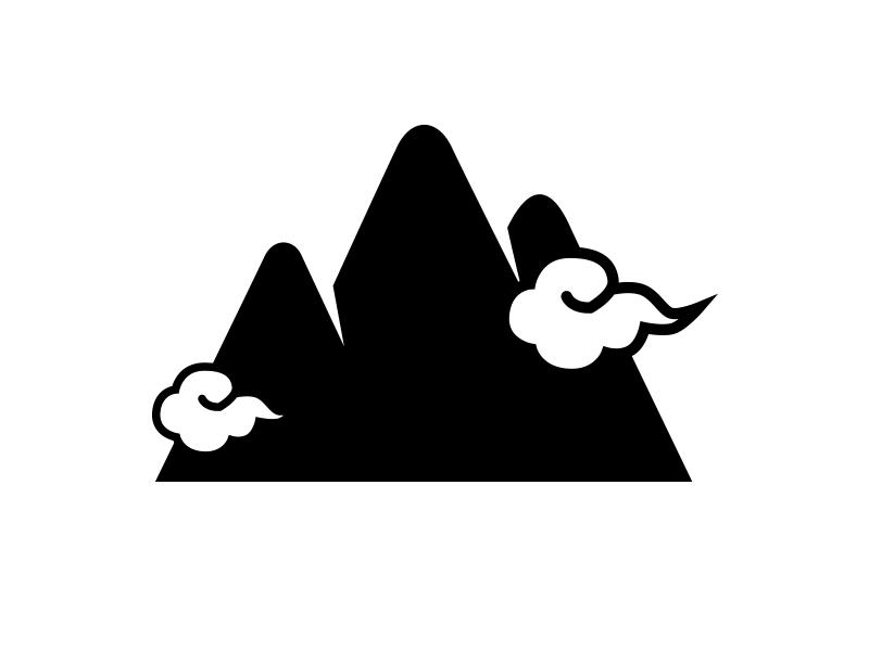 Japanese mountain resort logo logo