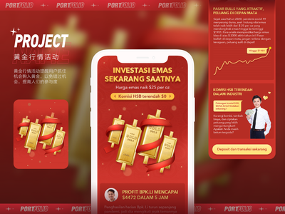 Gold market activity typography design 插图