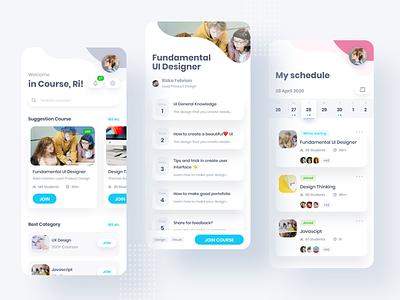 Course App ⠿ Work Diary work diary schedule list calendar card designers fundamentals course ui concept design apps ios exploration clean