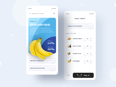 Fruits App ⠿ Work Diary cart bananas fruit app concept design apps ui ios exploration clean work diary