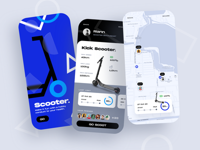Scooter ⠿ Work Diary blue monochrome map scooter concept exploration ios design clean ui apps design