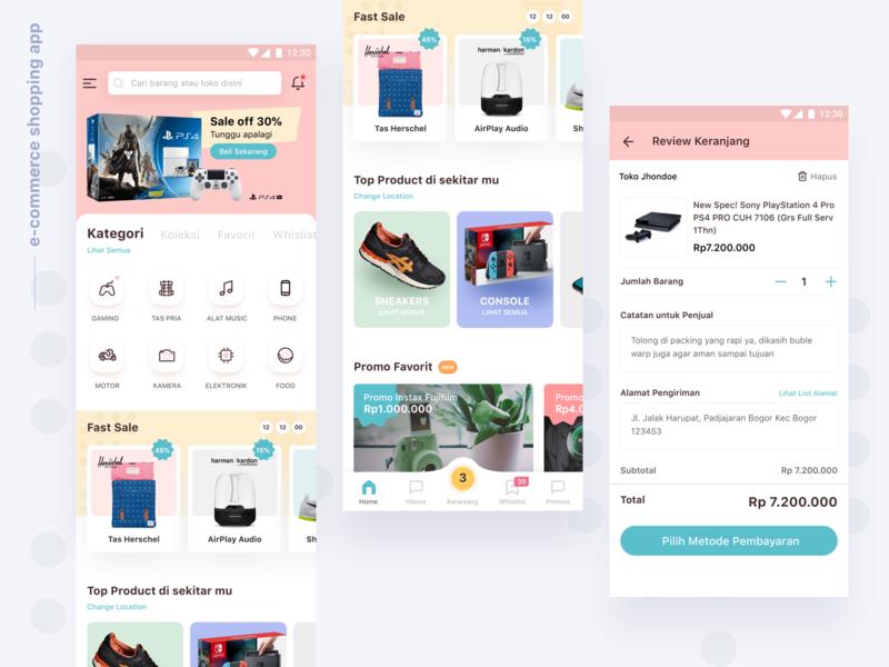E-Commerce Apps ⠿ Work Diary app clean modern design apps ios concept tosca checkout checkout page whishlist cart hershel sneaker shop app shop online ui apps design e-commerce exploration