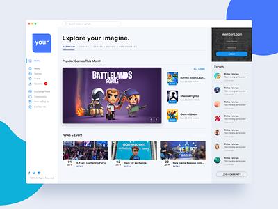 Game Store ⠿ Work Diary design app ios apps ui exploration register login community forum android game android blue white clean game store store game