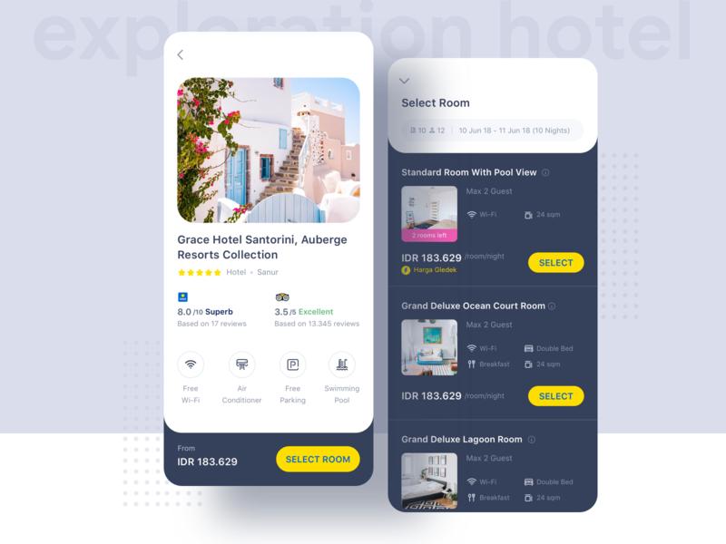 Hotel App Exploration ⠿ tiket.com tiket design superapps app dot happiness yellow white dark mode concept apps design android ui hotel exploration clean travel ios tiket.com