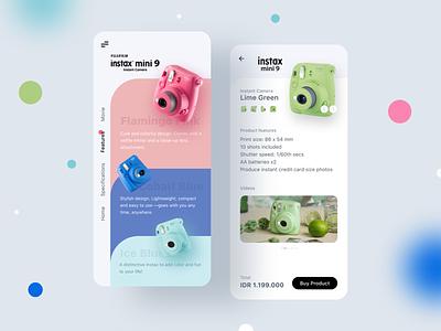 Instax Mini 9 App ⠿ Work Diary app website concept design exploration ui online shop shop cart grey clean ios apps camera soft color tosca instax mini instax fujifilm