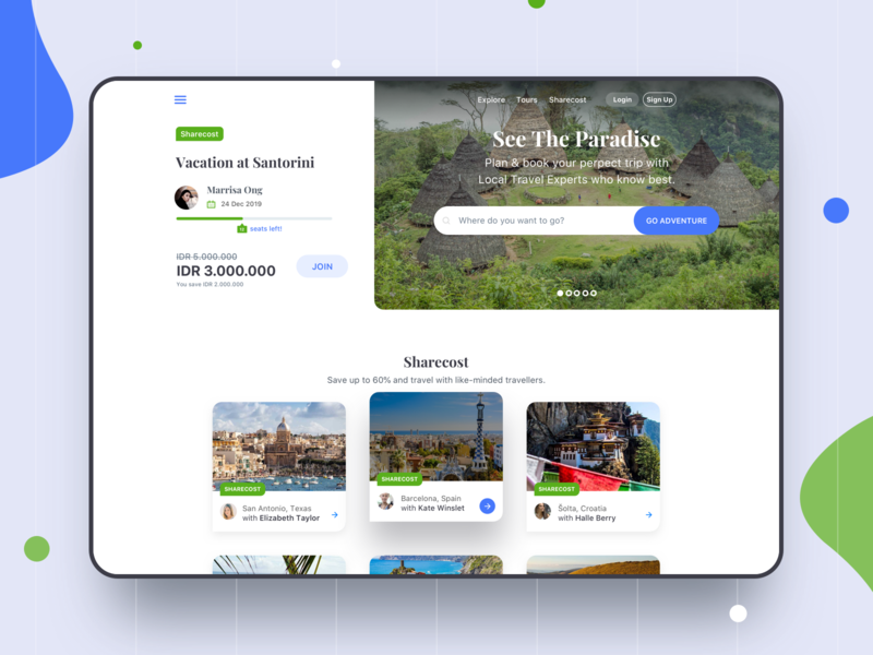 Sharecost Travel ⠿ Work Diary project culture jungle vacation card travel website clean ui design workdiary