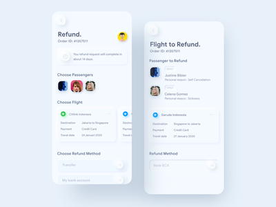 Skeuomorph Refund Flight ⠿ tiket.com tiket design concept skeuomorphism skeuomorphic ui flight travel tiket.com apps ios exploration clean