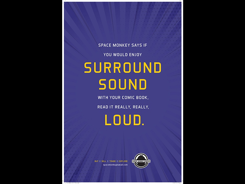 Surround Sound space loud rays hawaii poster monkey purple comics sound