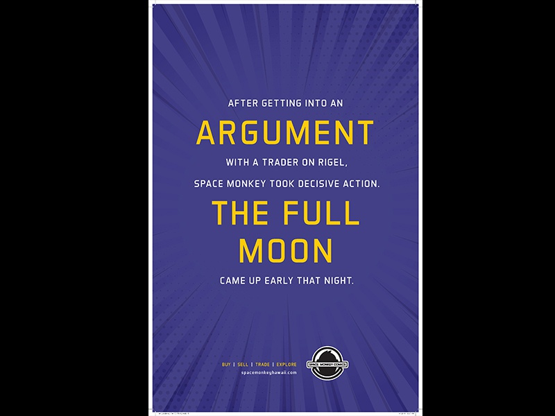 Full Moon trader argument moon honolulu hawaii rays purple collectors comics poster space monkey