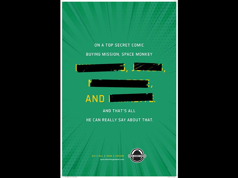 Top Secret grunge tape copywriter hawaii green monkey space comics poster secret