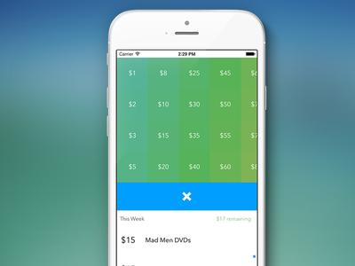 Weekling ios flat colour green blue budget budgeting weekly budget money tracker list grid