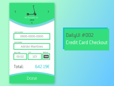 DailyUI #002 - Credit Card Checkout design ui green checkout creditcard uidesign dailyui