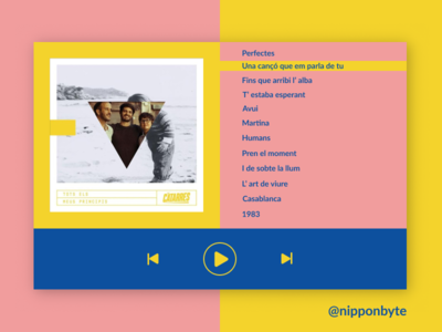 DailyUI #009 - Music Player design ui pink yellow blue catalonia musicplayer music uidesign dailyui