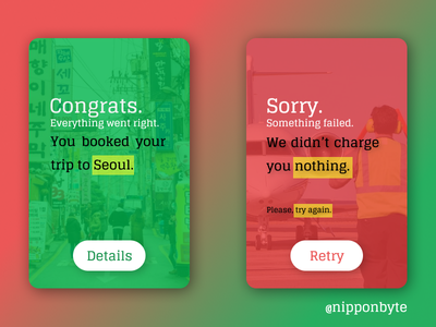DailyUI #011 - Flash Message (Success/Error) design ui flight green red error success flashmessage 011 uidesign dailyui
