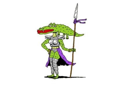 Alligator Woman Warrior warrior fantasy illustration character characterillustration characterdesign dungeons  dragons dnd