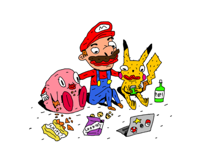 Best Friends Waiting For The Nintendo Direct best friends editorial illustration game art video game kirby pikachu mario nintendo
