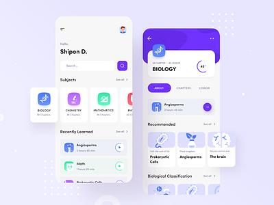 e Education App knowledgebase interface minimal app design chemistry biology education app learning ios knowledge ui application design ui  ux clean app design mobile app