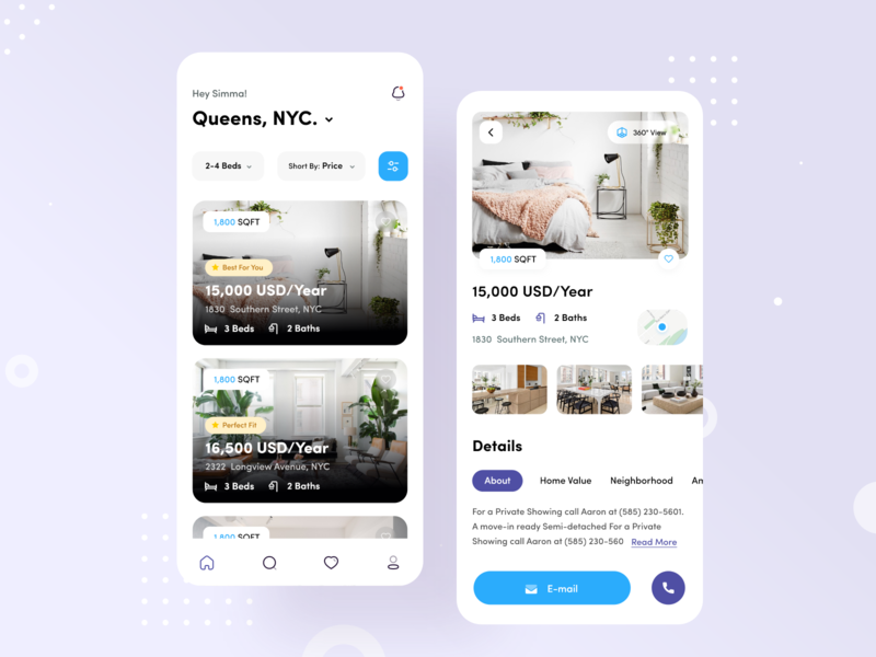 Real estate app property real estate agent business appartment home rent real estate app ui interaction design application design ui  ux clean app design mobile app