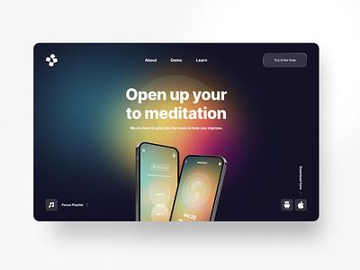 Meditate Hero Page health sleep experience ux product design focus meditating platform meditate uidesign