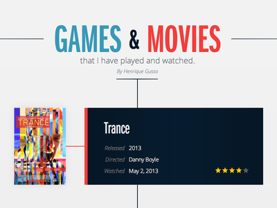 Games & Movies games movies site website interface web timeline blog